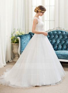 Ball-Gown Scoop Neck Sweep Train Organza Satin Lace Wedding Dress With Beading Sequins - JJsHouse Wedding Dresses With Straps, Wedding Party Dresses, One Shoulder Wedding Dress, Elegant Wedding, Lace Wedding, Dream Wedding, Marquise, Special Occasion Dresses, Bridal Style