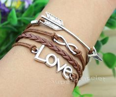 bow and arrow bracelet Ancient silver Infinity by superbracelet, $4.59