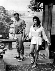 Elizabeth Taylor & Richard Burton on location in Big Sur, California..... during production of Vincent Minnelli's The Sandpiper (1965)