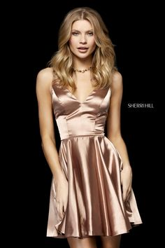 Shop Sherri Hill short mocha silk homecoming dresses at PromGirl. Sleeveless designer fit-and-flare dresses and semi-formal party dresses with v-necklines and spaghetti straps. Sherri Hill Short Dresses, Sherri Hill Homecoming Dresses, Hoco Dresses, Satin Dresses, Elegant Dresses, Beautiful Dresses, Formal Dresses, Silk Dresses Short, Satin Short Dress