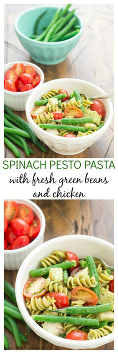 This Spinach Pesto Pasta with Fresh Green Beans and Chicken is a fresh ...