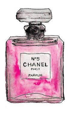 watercolor of chanel bottle
