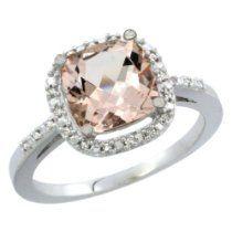 14K White Gold Natural Morganite Ring