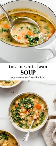 This Tuscan White Bean Soup is a simple and savory vegetarian recipe made with white cannellini beans, veggies and kale for a delicious soup filled with flavour! Bean Soup Recipes, Simple Soup Recipes, Japanese Vegetarian Recipes, Healthy Soup Vegetarian, Vegetarian Barbecue, Vegan Soup, Barbecue Recipes, Vegetarian Cooking, Tuscan Soup