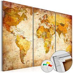 SENSATIONSPREIS ! Neuheit! Weltkarte mit Kork Rückwand 90x60 cm - Bild auf Vlies-Leinwand - 3 Teilig - Bilder - Leinwandbild Poster Pinnwand Kunstdruck Weltkarte Kontinent Welt Landkarte Karte k-B-0020-p-a 90x60 cm B&D XXL