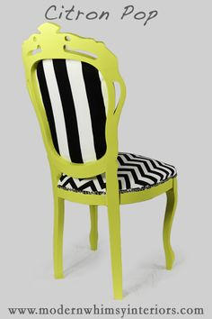 Citron Pop Is A Baroque Style, Bright Fun Chair Detailed With Chrome Nail  Head. Black And White Chevron Fabric On The Front And A Change Of Pace With  Black ...