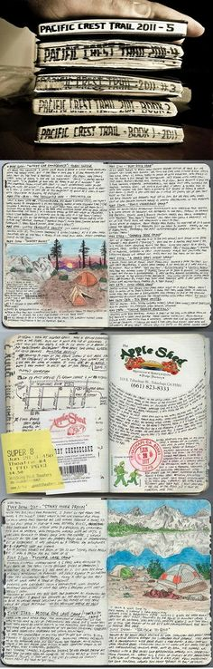 After being laid off from his job in April Kolby Kirk (The Hike Guy) decided he would attempt to complete as much as he could of the Pacific Crest Trail. In that time, Kolby wrote 850 (Kickstarter Products Bullet Journal) Moleskine, My Journal, Journal Pages, Bullet Journal, Kunstjournal Inspiration, Art Journal Inspiration, Journal Ideas, Art Inspo, Smash Book