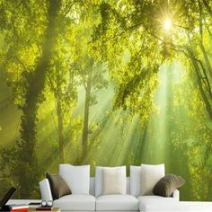 Sunshine woods background wallpaper photo 3d living room bedroom natural landscape home decoration wallpaper for the wall 3 d