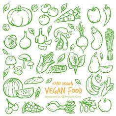 Fondo de bocetos verdes de verduras  Vector Gratis