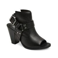 Women's Genuine 1976 Logan Leather Harness Open Toe Mules - Black : Target