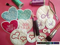 Combo Make Up Remover Pad Set - In the Hoop Project - Heart and Circle Embroidery Design - Machine Embroidery