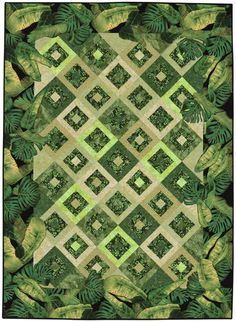 Blended Borders quilt by Pamela Mostek - using large scale prints.  Martingale : Blended Borders book
