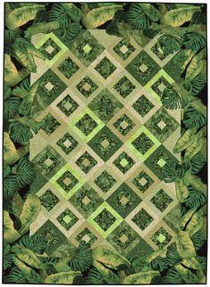 Blended Borders quilt by Pamela Mostek - using large scale prints.  Martingale : Blended Borders book