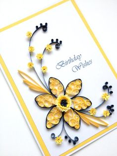 I love quilling! Paper Quilling Birthday Wishes Card. Quilled Handmade by Joscinta, £6.00