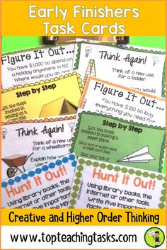 """These Early Finisher Task Cards answer the common classroom question, """"I'm Done. Now What?"""" Superb for Back to School! These print and go task cards are great activities build creative thinking, sequencing, persuasive writing and cause and effect skills. These are useful as an enrichment activity, as a bonus reward or bell ringer activity in your grade three, grade four, or grade five classroom. 4th grade early finishers, 5th grade early finishers."""