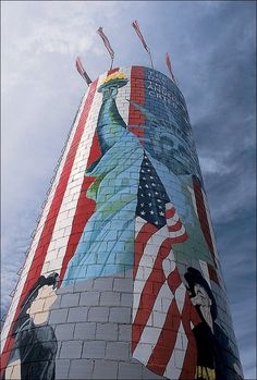 Karen Lewis, rural Abilene, Texas, painted her farm's silo to be a memorial to those who died in the 9/11 terrorist attacks.