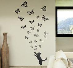 Wandtattoo Katze und Schmetterlinge