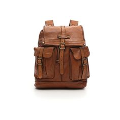 923c8ee064db Backpack with flap and two front pockets in cognac leather