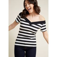 Hell Bunny Lindy Hop and Roll Off-Shoulder Top ($29) ❤ liked on Polyvore featuring tops, striped top, stripe top, off-shoulder tops, black and white striped tops and black white striped top