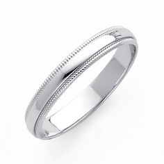 14K White Gold 3mm Plain Milgrain Wedding Band Ring for Men & Women (Size 4 to 12) - Size 8.5
