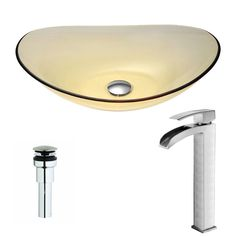Anzzi Mesto Series Lustrous Translucent Gold Deco-Glass Vessel Sink with Key Brushed Nickel Faucet (Lustrous Translucent Gold Finish), Yellow