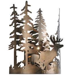 1 Light Deer Through The Trees Wall Sconce