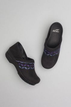 81d5cd71342 The Dansko Black Embroidered Nubuck from the Professional collection.   womensshoesprofessional Chef Shoes