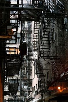 NYC fire escapes - this looks like a maze.