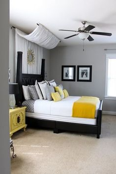 white bedding, gray walls, yellow accents... for the master room!! love the fabric behind the headboard