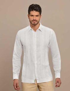 Formal Design Guayabera. Hidden Botton. Handmade. White. High quality shirt.