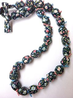 Fabric Necklace in blue colors (made to order). $32.00, via Etsy. Fabric Necklace, Beaded Necklace, Necklaces, Handmade Art, Handmade Gifts, Blue Colors, Trending Outfits, Unique Jewelry, Charms