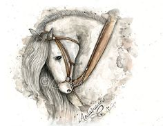 Andalusian Horse Gray - Watercolor Digital Artist Print - Instant Download