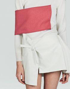 Banded Dress - pink on white, band & knot dress; closeup fashion details