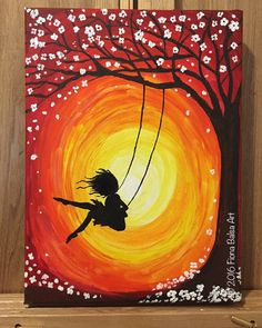 Sunset Girl Playing on Swing 16 x 20 by FionaBalsaArt on Etsy