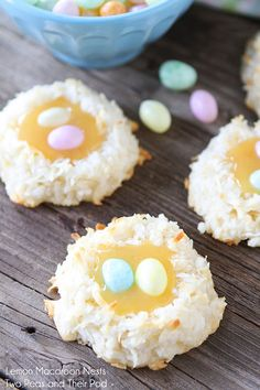 Coconut Lemon Macaroon Nests! Adorable! These coconuty treats are also bursting with lemon flavor! Yum!