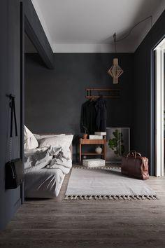 Freelance Artist Scandinavian Small Apartment Pham Duong Scandinavian Apartment at VWArtclub Black Bedroom Design, Home Room Design, Bedroom Black, Modern Bedroom, Bedroom Decor, Gothic Bedroom, House Design, Flat Interior, Interior Design
