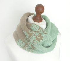 f0635d52eaac0 Pale Green and Beige Knit Cowl Wool Cowl Knitted Snood Warm Scarf Tube Scarf  Neck Warmer Circle Scarf Gift for Woman Christmas gift