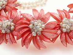 Freshwater pearls and red shell flower necklace handmade