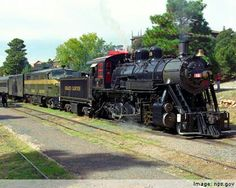 I would strongly reccommend driving into Williams, Arizona and taking the Grand Canyon Railway train into the Canyon. It's wonderful! Grand Canyon Railway, Train Engines, Train Pictures, Route 66, Trip Planning, Places Ive Been, North America, Transportation, Trail
