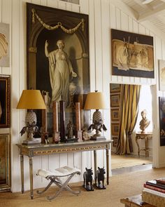 LOVE THE LARGE SCALE OF EVERYTHING.... ESPECIALLY, THE HALL TABLE, LAMPS ACCESSORIES & WALL HANGINGS! (DPC)
