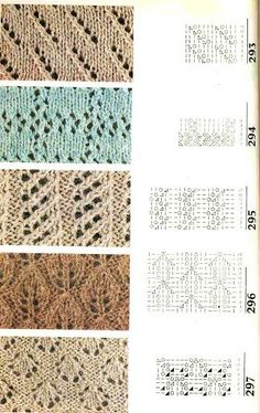 Beautiful Russian Knitting Stitches with charts. The blue stitch #294 is an unusual lace plaid or checker box stitch.:
