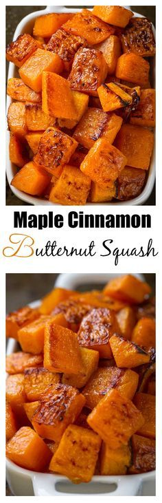 Maple Cinnamon Roasted Butternut Squash makes an easy, healthy & delicious side dish perfect for Thanksgiving, Christmas or any holiday gathering.