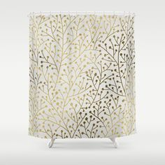 Gold+Berry+Branches+Shower+Curtain+by+Cat+Coquillette+-+$68.00