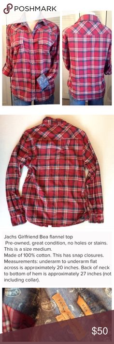 Jachs Girlfriend flannel Size medium, lightly used. No holes or stains. Retails for $98 new. *ship same/next day *no holds/trades *pet free *smoke free home Jach's Girlfriend  Tops Button Down Shirts