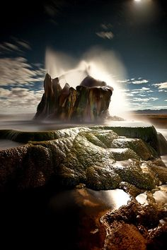Fly Geyser at Night Photograph - Nevada...