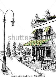 Street View Retro City Restaurant Terrace Stock Vector (Royalty Free) 218905519 Street view of a retro city restaurant terrace, vector sketch Pencil Art Drawings, Easy Drawings, Drawing Sketches, Pen Sketch, Art Mots, Cityscape Drawing, Perspective Sketch, Arte Sketchbook, City Restaurants