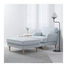 STOCKSUND Chair, Remvallen blue/white, light brown/wood Remvallen blue/white light brown