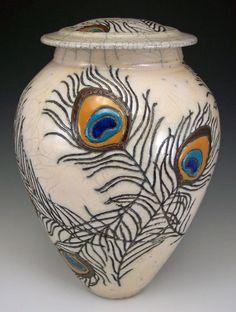 raku peacock lidded vase
