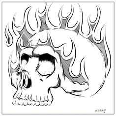 Viewing Gallery For - Easy Skull Drawings With Flames