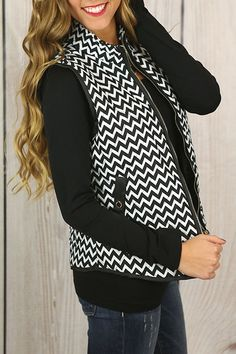 Fall in Love Chevron Puffer Vest